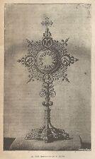 A1969 Ostensorio - Incisione - Stampa Antica del 1890 - Engraving