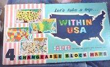 4 CHANGEABLE WOOD BLOCK MAPS OF THE USA CARTOON MAPS 6 BLOCKS DOEPKE CO  1957