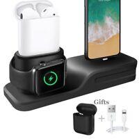 Cargador 3 en 1 para iPhone AirPods Apple Watch Estación de Carga de Silicona