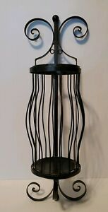 Wrought Iron Wall Sconce Candle Holder Wall Decor Black Lantern GUC