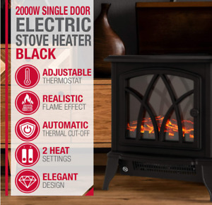 2000W Black Electric Fireplace Stove Heater Small Flame Effect A Refurbished