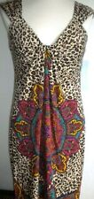 LONDON TIMES MS SIZE 10  BROWN ANIMAL PRINT WATERFALL SLEEVLESS FASHION DRESS