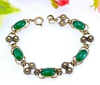 Vintage Gold Tone Metal + Green Glass Cabochon Bracelet - Small Womans or Child