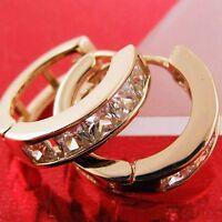 EARRINGS HUGGIE HOOP REAL 18K ROSE G/F GOLD DIAMOND SIMULATED DESIGN FS3AN751