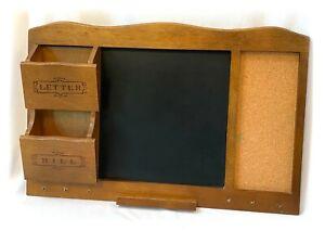 Vintage Wood Wall Mount Organizer Mail Key Holder Chalkboard Cork Board M Lucas