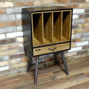Industrial Vinyl Record Filing Cabinet Retro Vintage Side Table Drawer Cupboard