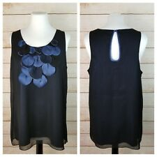 Lapis L Embellished Sleeveless Top Black Chiffon Over Blue Satin Keyhole Back