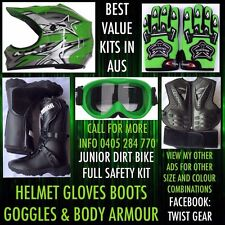 Peewee Jr Kids Dirt Bike Motocross Boots Chest Plate Goggles Green Helmet