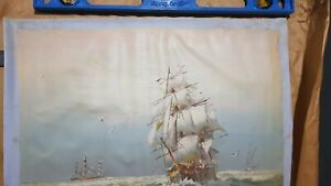 Don Greenlee Oil Painting Ship At Sea  60cm x 18cm