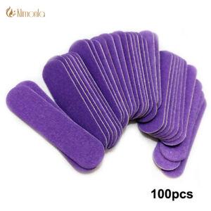 100pcs/lot Purple Mini Wood Nail File Tools Care Manicure Pedicure manicura para