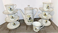 Holly Hobbie Kitty Cat Tea Set 1973 Porcelain Tea Pot & Lid, 7 cups & 6 saucers