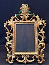 ANTIQUE VICTORIAN PICTURE FRAME WITH FOUR FAUX JADE  STONES