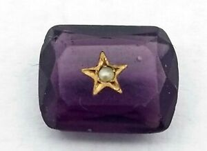 Antique Vintage Faux ? Amethyst Gold Encrusted Pearl Curved Rectangle Stone J214