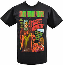 MENS BLACK T-SHIRT TERROR FROM THE FUTURE ROBOT MONSTER B-MOVIE SCI-FI S-5XL