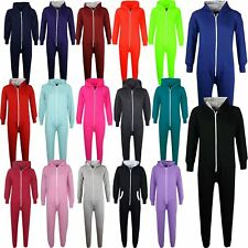 Kids Girls Boys Plain Fleece Hooded A2Z Onesie One Piece All In One Jumpsuit2-13