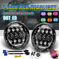 "LED 7"" Inch Headlight W/ Bluetooth RGB HALO Lights fits 97-17 Jeep Wrangler JK"