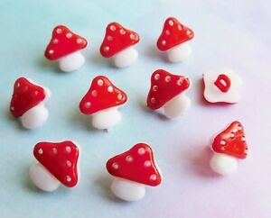 10 x Mushroom Buttons, Toadstool, Fairy, Craft Plastic, Red, Pink, Turquoise New