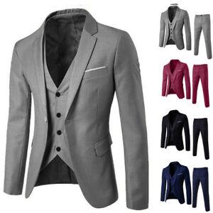 Business Men's Suit Slim 3-Piece Suit Blazer Wedding Party Jacket Vest & Pants