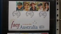 2000 AUSTRALIAN ALPHA STAMP ISSUE FDC, FACE OF AUSTRALIA STRIP OF 5 STAMPS 4