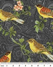 Benartex Avignon by Michele D'Amore 4420 9 Black Aviary  -  Cotton Fabric