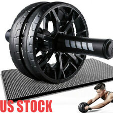 Ab Double Roller Wheel Machine Abdominal Home Exercise Fitness Workout Training