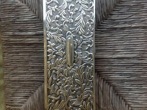 ANTIQUE ENGRAVED VICTORIAN STERLING SILVER JEWELRY BOX WITH MIRROR.