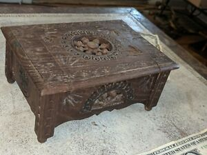 Beautiful Vtg Antique Made in France Carved Wood Potpourri Box 6 1/4""