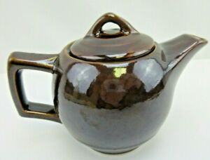 Vintage McCoy Pottery Small 1 Cup Brown Pottery Teapot