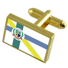 Embu-Guacu City Sao Paulo State Gold Flag Cufflinks