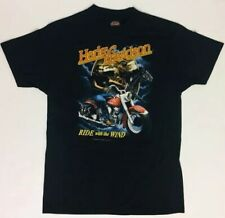 2e465a9123 New ListingVintage Harley Davidson Motorcycle T Shirt Ride With The Wind Large  BlacK 1991