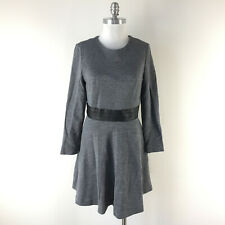 New Milly L 10 12 Gray Wool Dress Flounce Black leather waist Career Cocktail