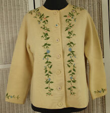 """MARCO POLO 1950s Vintage Cardigan M-L 40"""" Bust Floral Embroidered Sweater Roses"""