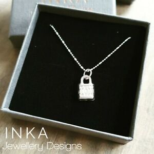 "Inka 925 Sterling silver 16"" Ball Bead Necklace with Lock Pendant"