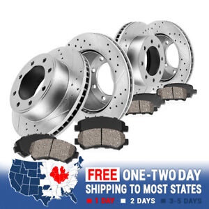 Front + Rear Drill Slot Brake Rotors And Ceramic Pads For 00 - 02 Ram 2500 3500