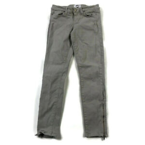 Paige Womens 26 Gray/Cream Verdugo Ankle Stretch Jeans Ankle Zippers