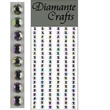 120 x 5mm Clear Iridescent AB Diamante Self Adhesive Strips Rows Rhinestone Gems