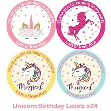 24 x Personalised Unicorn Birthday Stickers For Party Thank You Sweet Cone Bags