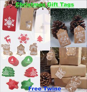 Christmas Kraft Scallop Gift Tags Card Label Tree Present Xmas Stocking Twine