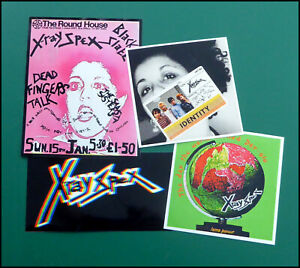 X-RAY SPEX, Set of FOUR Large Glossy Vinyl Promo Stickers