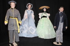 """Lot of 4 FRANKLIN MINT """"Gone With The Wind"""" Heirloom Porcelain Dolls+ACCESSORIES"""