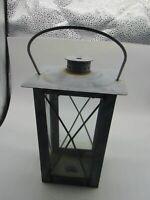 """Vintage Metal Tea Light Candle Hanging Lantern 8"""" High"""