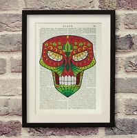Alien Sugar Skull UFO Art Vintage Encyclopedia Print Old Dictionary Book Page
