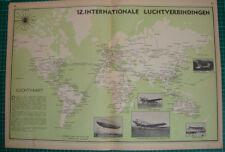 Old map flight Route connections aviation plane 1939 kaart luchtverbindingen