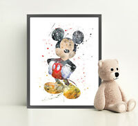MICKEY MOUSE Disney Print Poster Watercolour Framed Canvas Wall Art Nursery