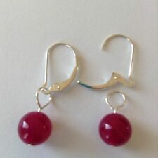 Ruby Red Agate charms Interchangeable Lever back Sterling Silver Earrings new ad