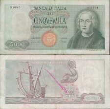 """5.000 lire 1968  """"Cristoforo Colombo"""" R85 Carta bianca"""