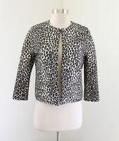 Ann Taylor Leopard Print Collarless 3/4 Sleeve Blazer Jacket Size XSP PXS Cream