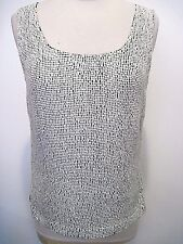 Jaeger Black Tank Top With Off White Sequins 100% Silk Lined Size US 8,UK 10,