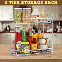 2-tier Metal Storage Rack Holder Kitchen Bathroom Spice Jar Shelf Organizer
