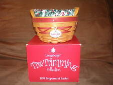 Longaberger 1999 Tree Trimming Peppermint Basket Set - Red - 1st in the Series